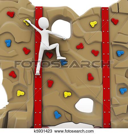 Drawing of 3d man escalating a climbing wall k5931423.