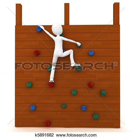 Clip Art of 3d man escalating a climbing wall k5891682.
