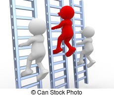 Clip Art of 3d man escalating a climbing wall isolated on white.
