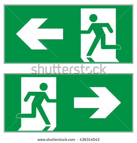 Emergency Exit Sign Business Man Figure Stock Vector 16113940.