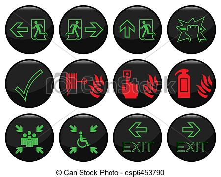 Vector Clipart of Fire and escape route black icon set.