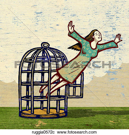 Stock Illustrations of Woman Escaping Her Cage ruggia0572c.