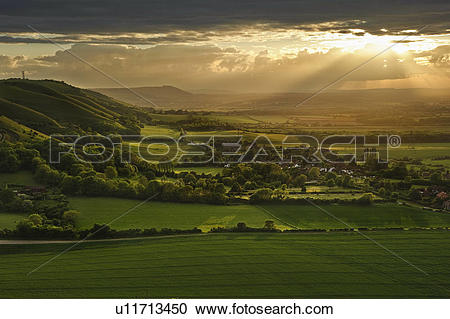 Stock Photography of England, West Sussex, Fulking Escarpment.