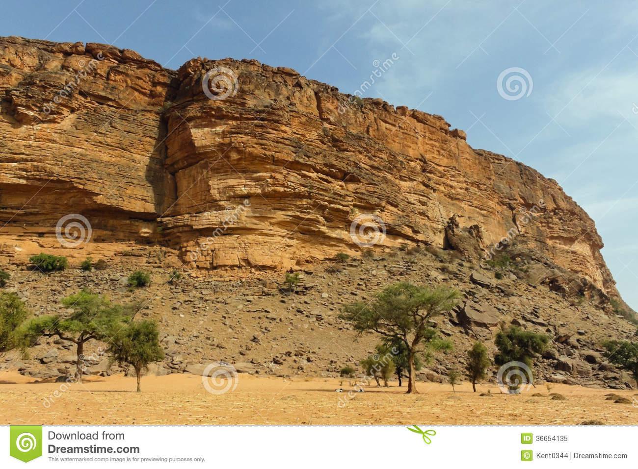 Desert And Cliff In Bandiagara Escarpment Royalty Free Stock Photo.