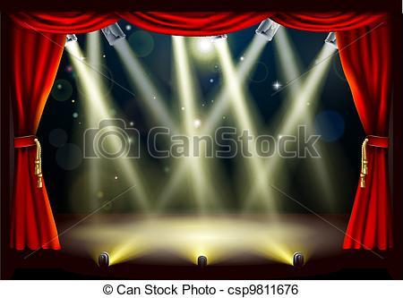 Luces de teatro. La ilustración de un escenario de teatro.