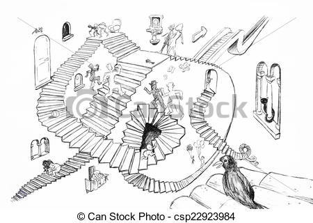 Stock Illustration of Escher style drawing.