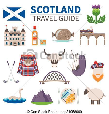 Clip Art Vector of Scotland Travel Icons Set.