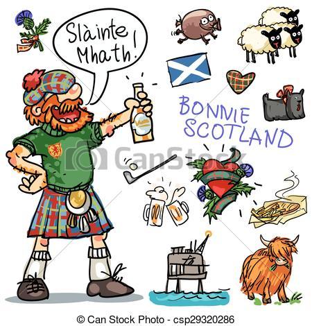 Vector de Clipart, Escocia, bonnie, Colección, caricatura.