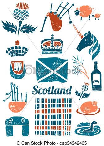 Clip Art de vectores de lino, símbolos, estilo, Conjunto, Escocia.