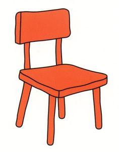 Muebles Escritorio Y Silla Vector.