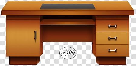 Escritorio Adictedd, brown double pedestal desk illustration.