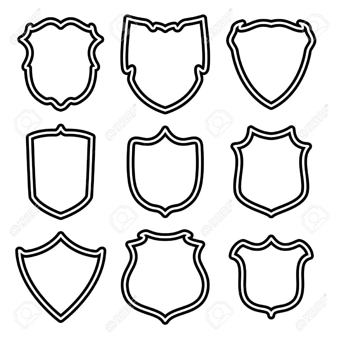 Vector De Conjunto De Escudos Ilustraciones Vectoriales, Clip Art.