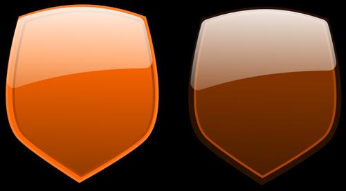Laranja e marrons escudos vector clipart.