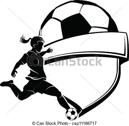 Vector Clip Art of Girl Soccer Shield.