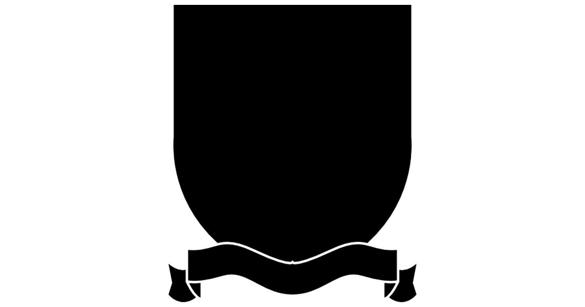 escudo con cinta en la parte inferior.