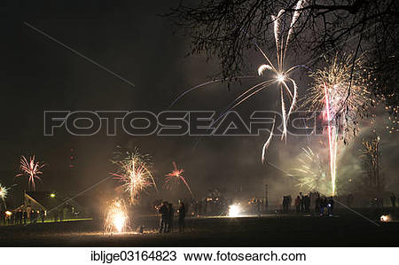 "Stock Photo of ""New Year's Eve fireworks, Eselsberg, Ulm, Baden."