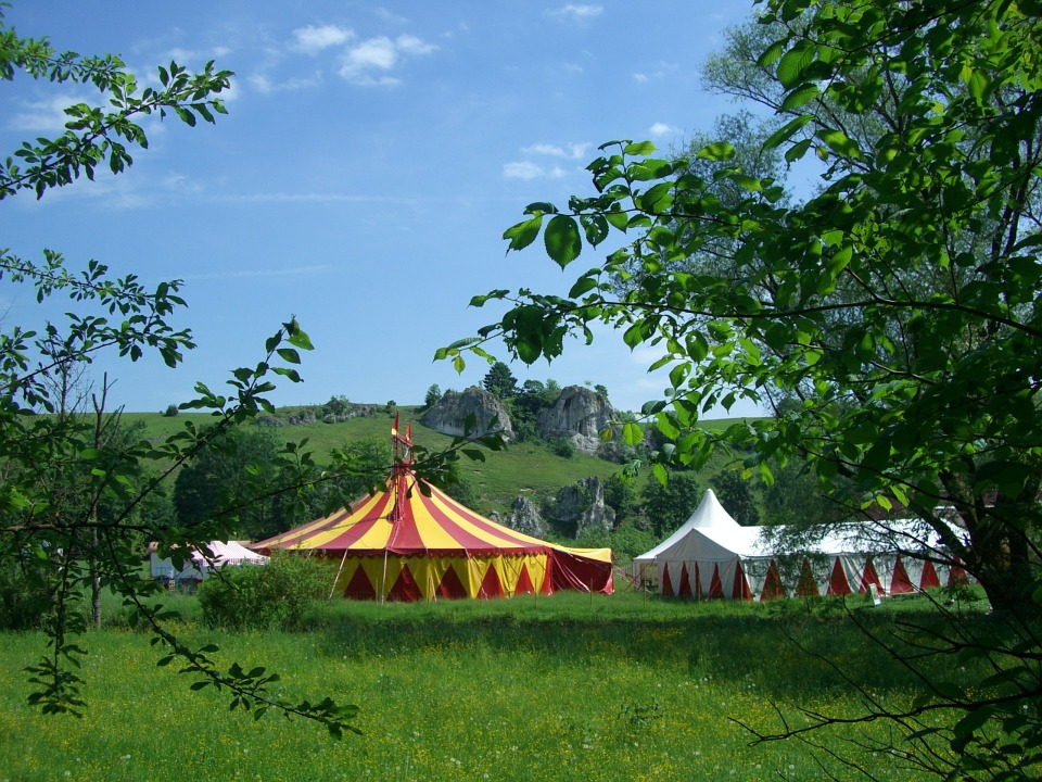 Free photo Circus Tent Circus In The Green Eselsburg Valley.