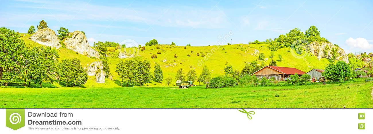 Farm At Valley Eselsburger Tal Panorama Stock Photo.