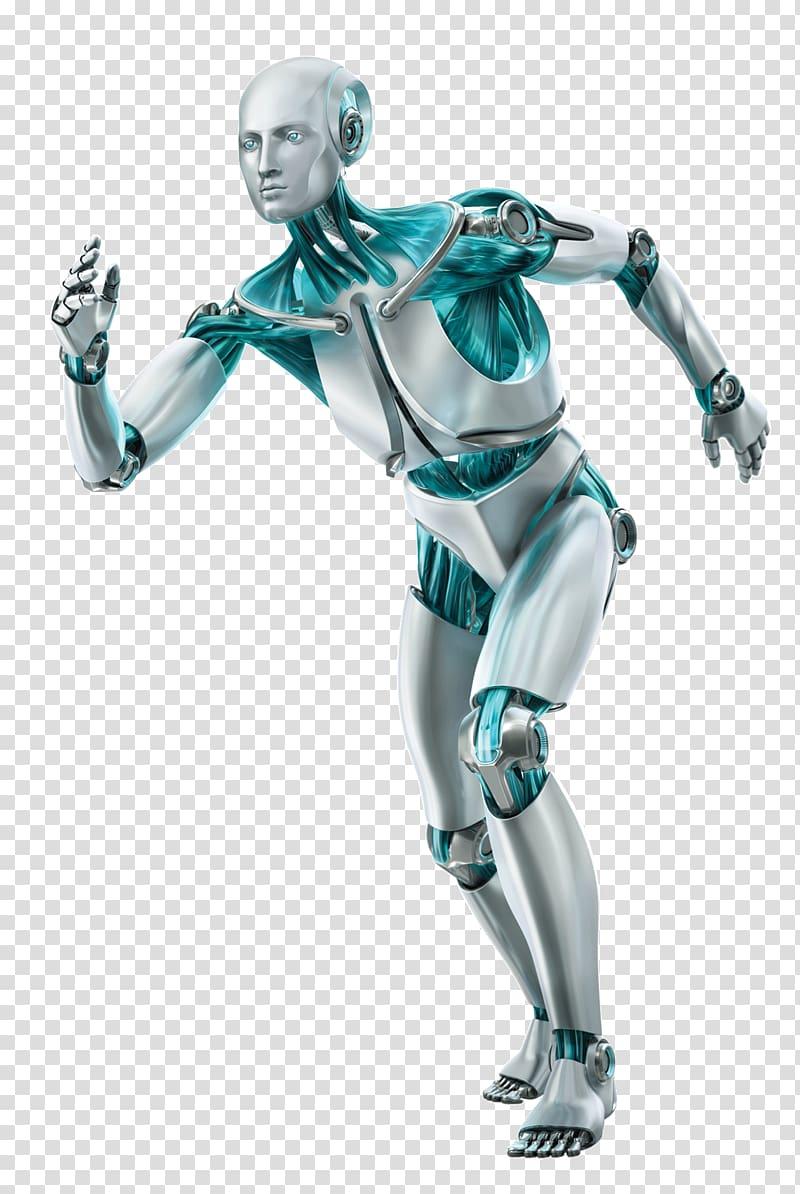 Gray robot illustration, ESET NOD32 Antivirus software ESET.