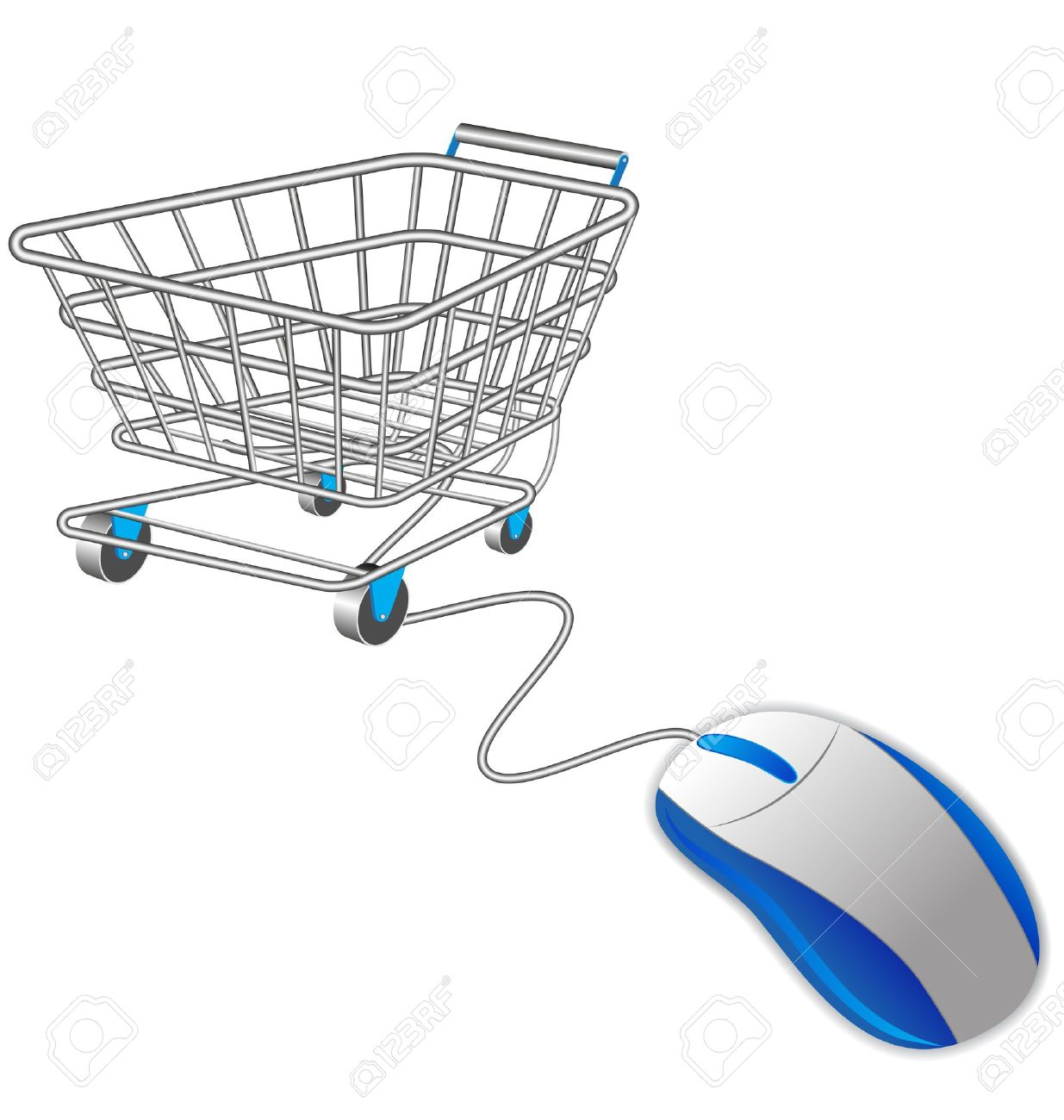 Shopping Cart Trolley And Computer Mouse Royalty Free Cliparts.