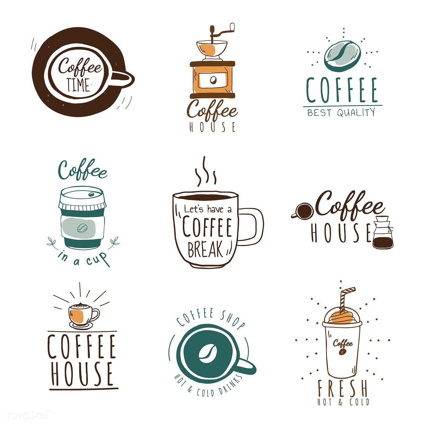 Set of coffee shop logos vector.