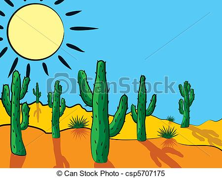 Clipart Vector of cactus in desert.