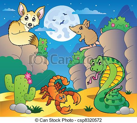 Vector Illustration of Desert scene with various animals 5.