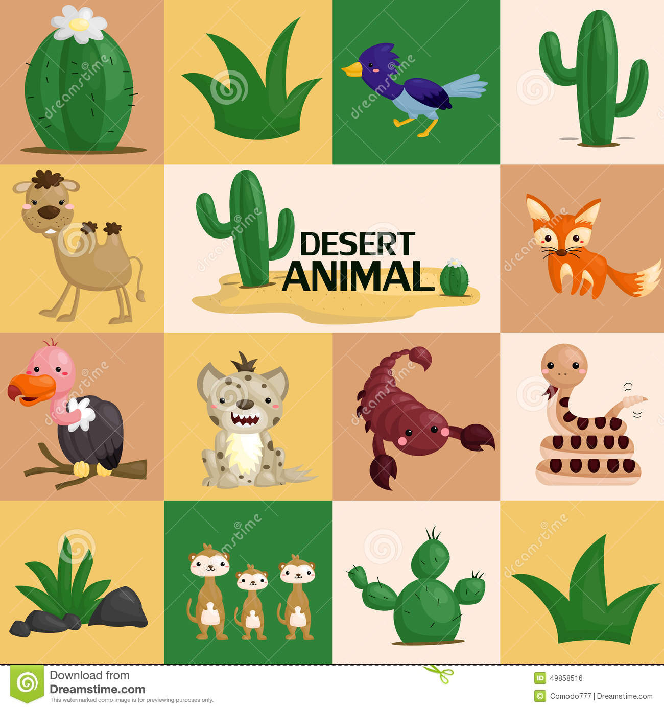 Square Desert Animal Vector Stock Vector.