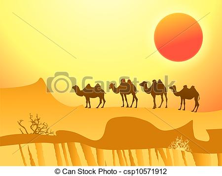 Vector Clip Art of camels in the desert.