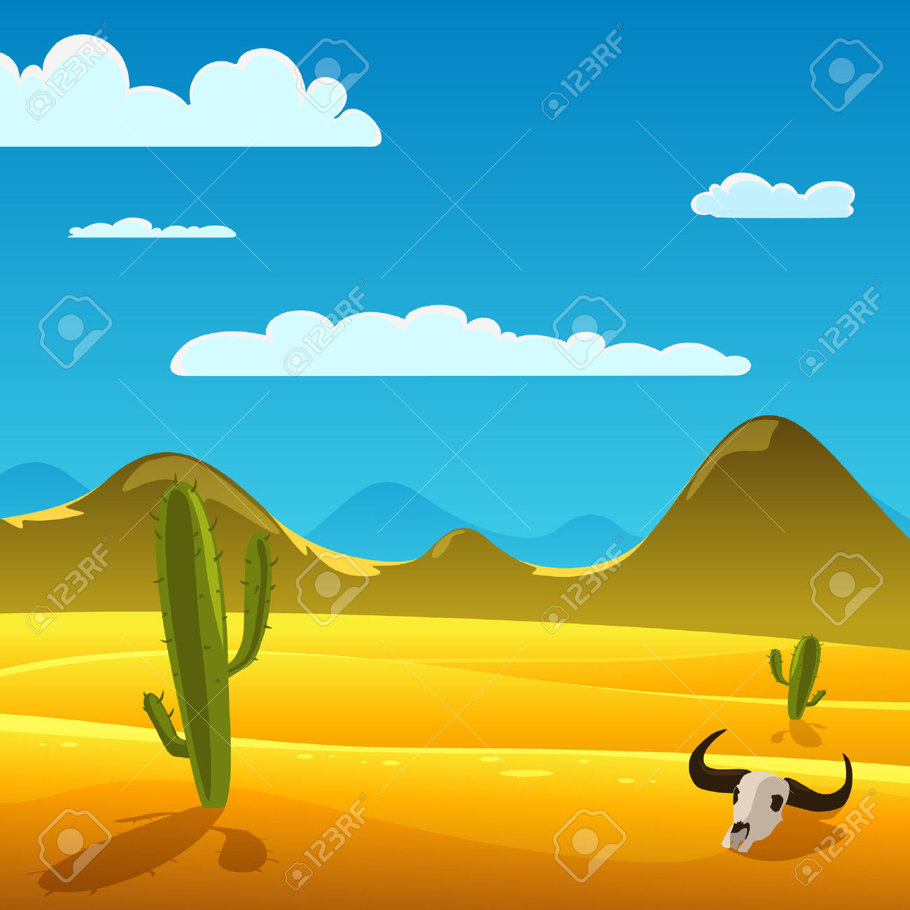 Desert Cartoon Landscape With Cow Skull And Cactus Royalty Free.