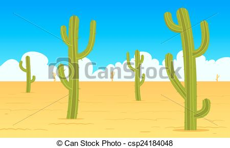Vector Clip Art of Desert scene with Mexican cactus.