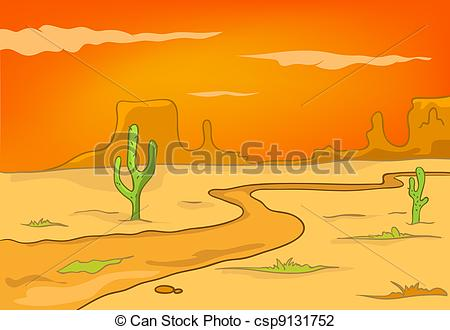 Vector Illustration of Cartoon Nature Landscape Desert Isolated on.