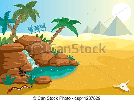 Vector Illustration of Desert Oasis.