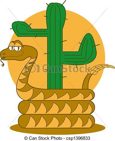 Vectors of Rattle Snake Desert Cactus Clip Art.