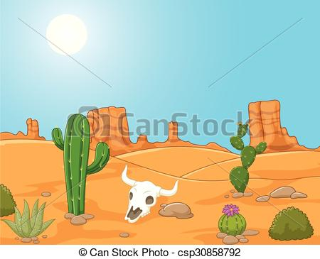 EPS Vectors of Cartoon desert landscape, wild west.