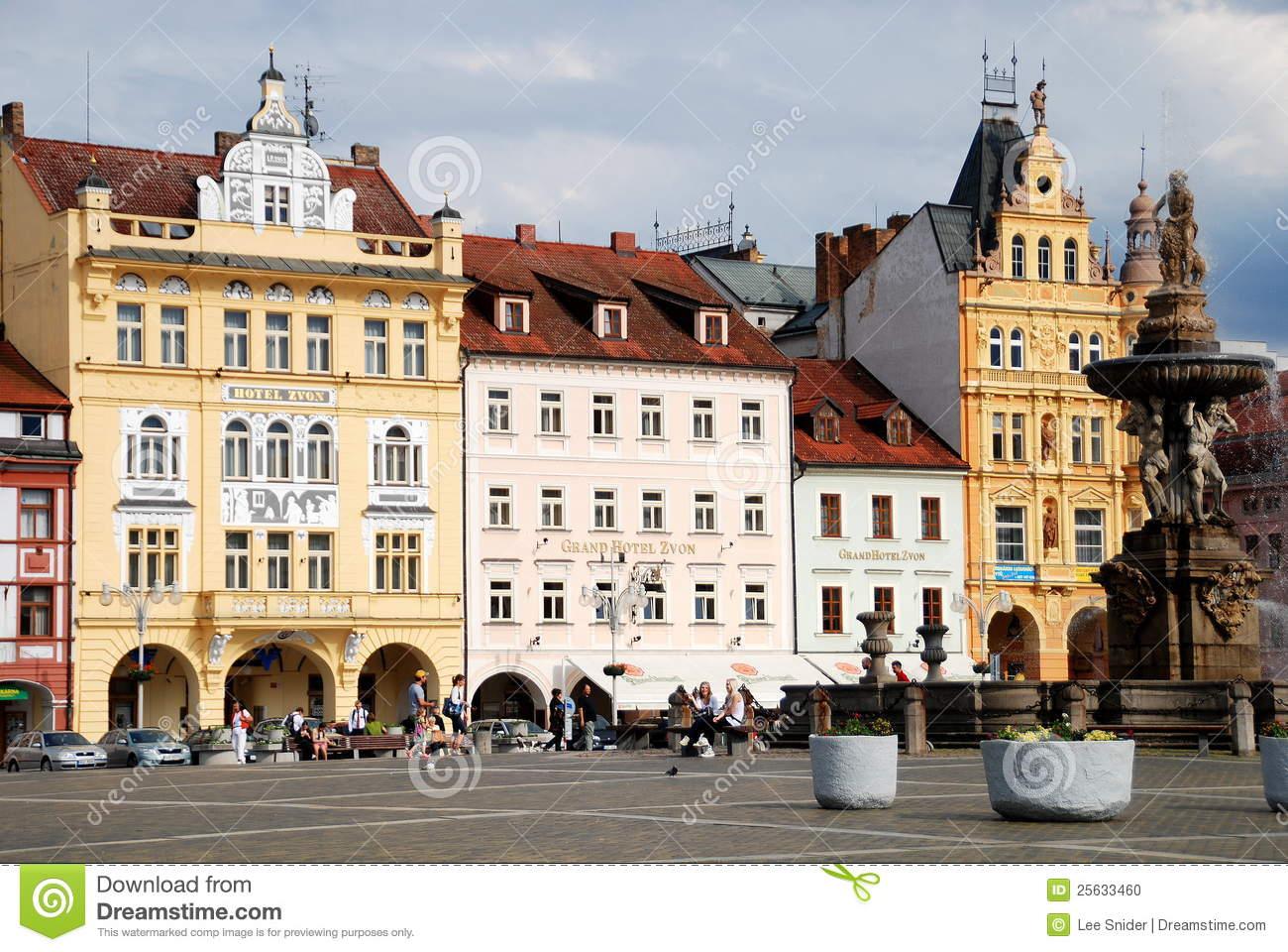 Buildings In Ceske Budejovice, Czech Republic Editorial Stock.