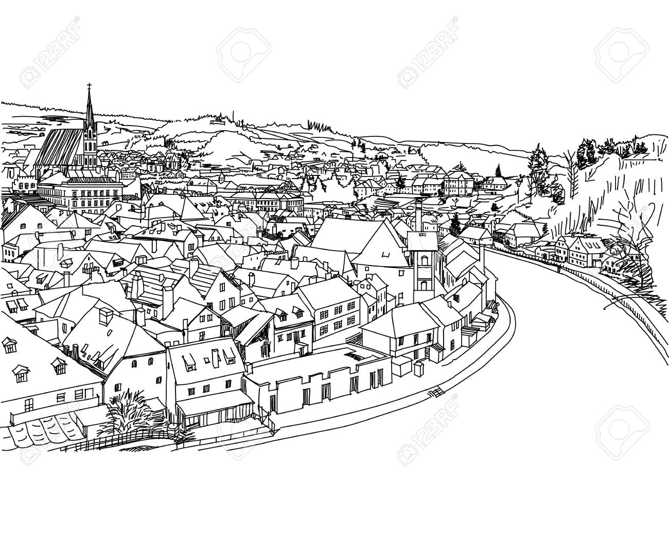 Old Town View From Cesky Krumlov. Hand Drawn, Sketch Royalty Free.