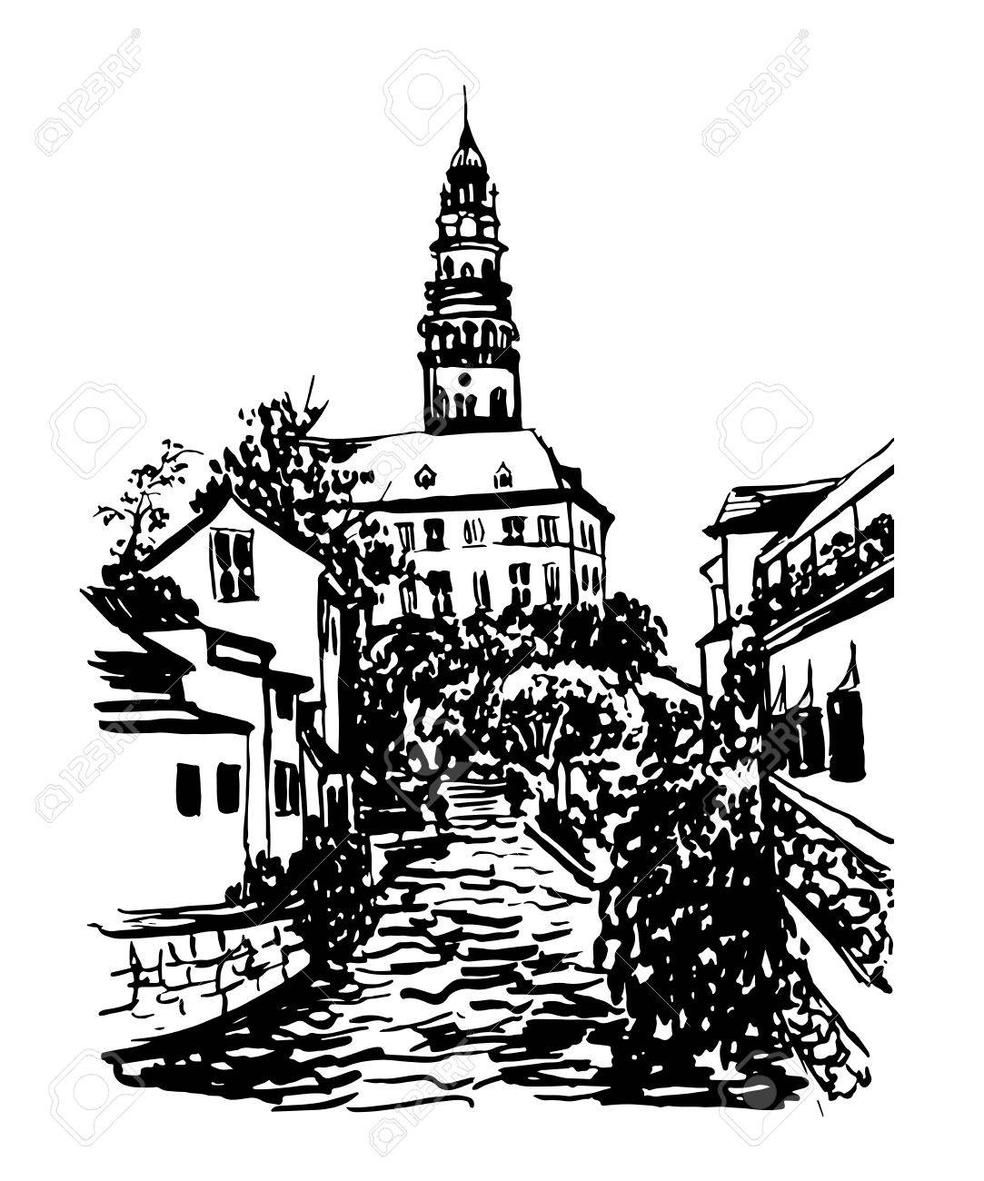 Drawing Background Landscape View In Cesky Krumlov Royalty Free.