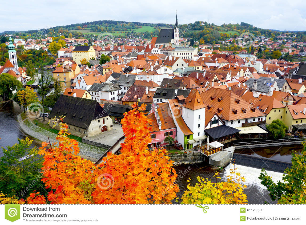 Cesky Krumlov Oldtown City And River In Autumn Editorial.