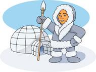 Eskimo and igloo clipart.