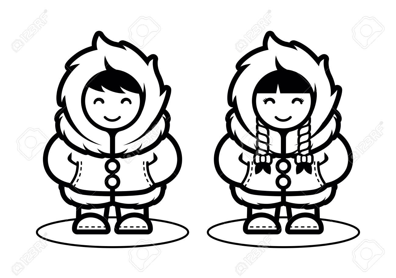 Young Eskimo Cute Couple Illustration in Cartoon Style. Illustration...
