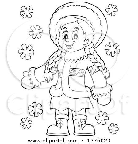 Clipart of a Black and White Happy Inuit Eskimo Girl Presenting.