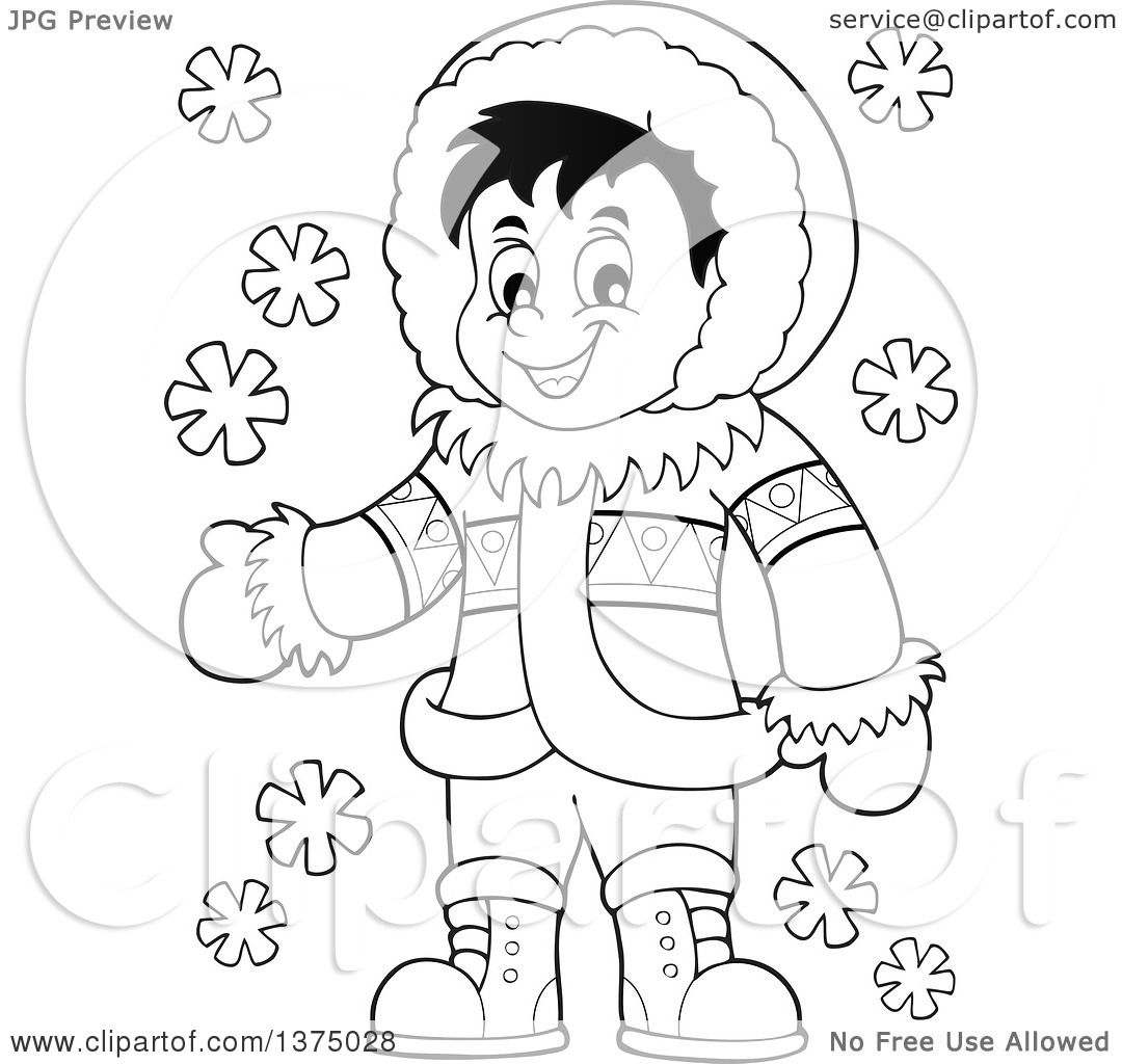 Clipart of a Black and White Happy Inuit Eskimo Boy Presenting.