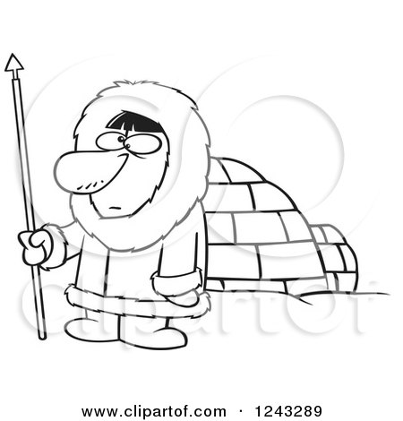 Clipart of a Black and White Cartoon Eskimo Hunter Man by an Igloo.