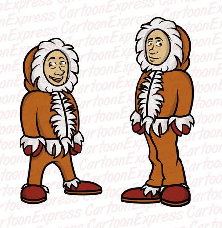 cartoon vector illustration Eskimos.