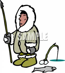 Eskimo fishing clipart.