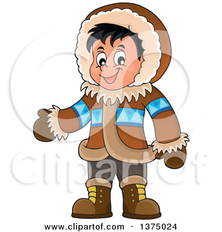 Clipart of a Happy Inuit Eskimo Boy Presenting by a Walrus and an.