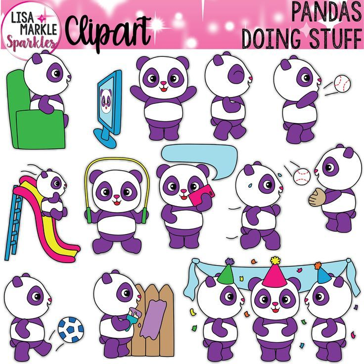 Panda Verb Clipart for VIPKID Gogokid Online ESL Teachers.