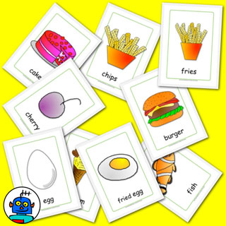 Color food flashcards and cutlery flash cards..