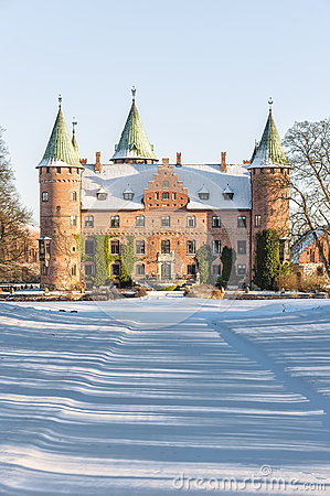Trolleholm Castle In The Snow Stock Photo.